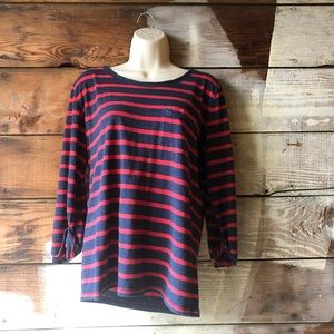 Abercrombie & Fitch Tops - Abercrombie & Fitch Navy Red Striped Long Sleeve